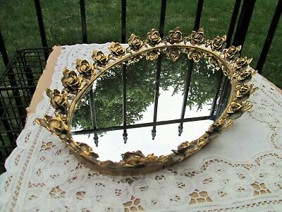 Vintage Large Oval Gold Gilt Ormolu Filigree Chained Roses Vanity Mirror Tray