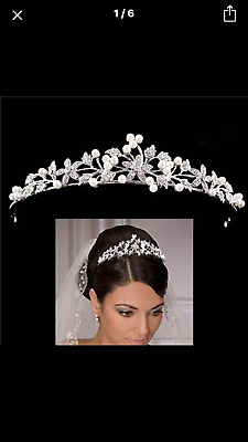 Bridal Wedding  Bridesmaid First Holy.communnion Rhinestone Crystal Pearl Tiara