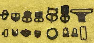 Lot Of Bronze Ancient Roman Belt Buckles And Tips