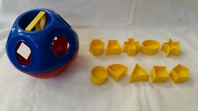 Tupperware Tuppertoys Shape O Ball Yellow with Blocks Shapes Complete Set!
