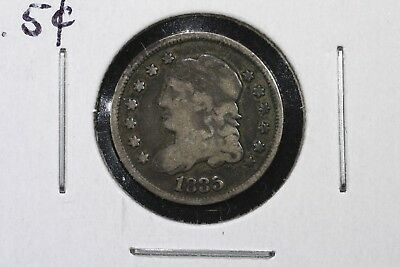 1835 Capped Bust Half Dime, Large Date, Small 5c, VG