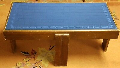 Vintage Art Deco Blue Glass Top Over Wood Coffee Table & 2 Matching End Tables