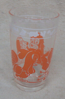 Vintage Kraft Cheese Swanky Swig Children's Juice Glass Orange Dog and Chicken