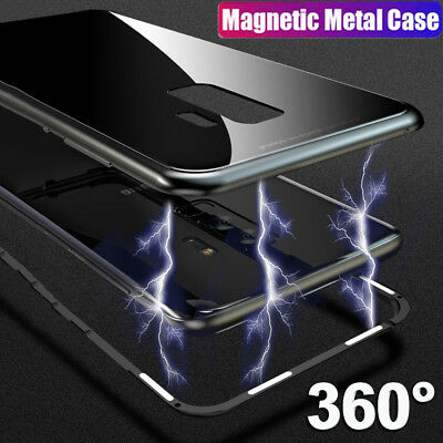 For Samsung Galaxy S9 S8 + Magnetic Adsorption Metal Bumper Glass Case Cover lot