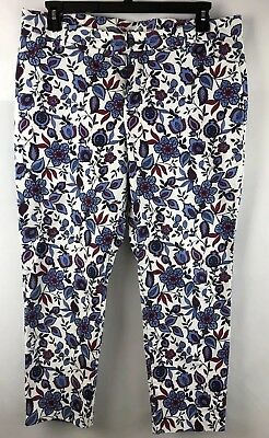 Khaki's By Gap Womens Pants Size 15R Slim City Fit Floral Cropped Ankle Spring,d