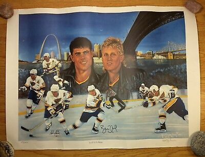 BRETT HULL & ADAM OATES Signed NHL Lithograph 1991 Numbered ST LOUIS BLUES