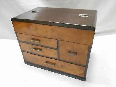 Vintage Kiri and Keyaki Wood Sewing Box Japanese Drawers C1930s #789
