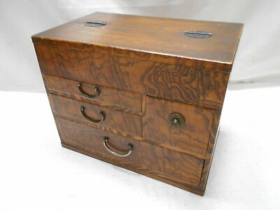 Antique Kiri and Keyaki Sewing Wood Box Japanese Drawers Circa 1920s #790
