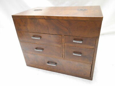 Vintage Kiri Wood Sewing Box  Japanese Drawers Circa 1930s #794