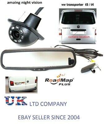 vw transporter t5 rear reverse parking camera kit rear view mirror monitor