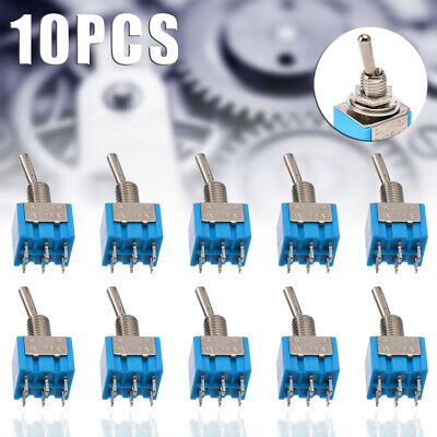 10Pcs MTS-202 6-Pin DPDT ON-ON 6A 125V AC Mini Blue Toggle Switch 2 Position UK