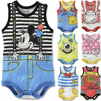 AU Kids Baby Infant Cartoon Sleeveless Bodysuit Jumpsuit Romper Outfit Clothes