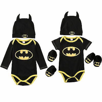 Toddler Baby Boy Girls 3Pcs Outfit Set Batman Romper Bodysuit Playsuit Hat 0-24M