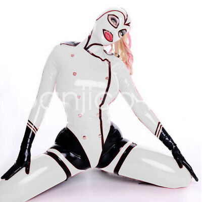New Latex Rubber Bodysuit White Police Uniform Catsuit Mask Overall XXS-XXL