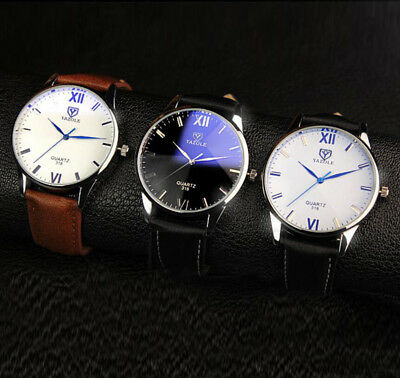 Retro Casual Men's Leather Roman Dial Analog Alloy Quartz Wrist Watch Watches