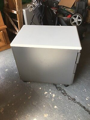 3 drawer filing cabinet, grey, used.