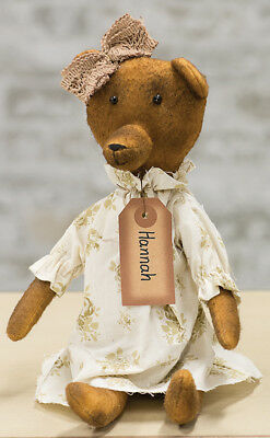 Primitive HANNAH BEAR DOLL Country Fabric Rag Raggady Ann Folk Art Handmade