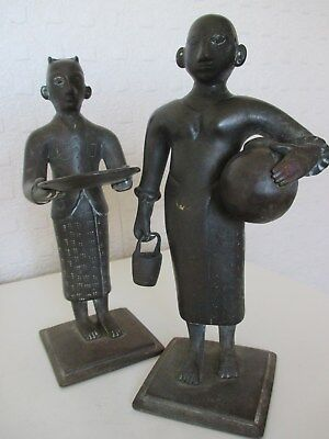 Pair of Early Indian Eastern Asian Bronze Figures of Lower Class - Slaves (18cm)