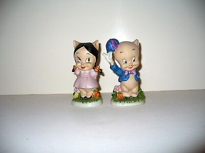 Vintage Warner Brothers Looney Tunes Porky and Petunia Pig Figurine 1979 Mint