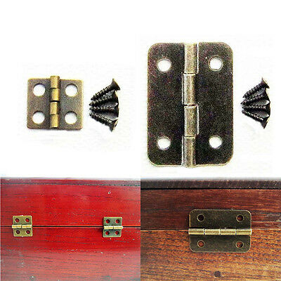 12pcs Antique Brass Vintage Jewelry Gift Wine Wood Wooden Box Hinge With Screws