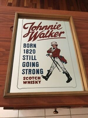 Johnnie Walker Man Scotch Whisky Mirror Sign Antique Vintage