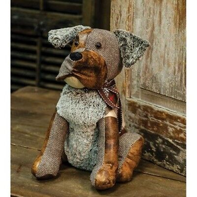 Primitive STUFFED DOG DOOR STOP DOLL Country Fabric Farmhouse Puppy