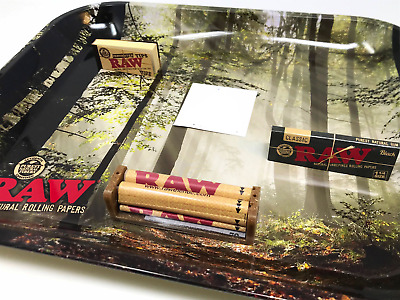 Bundle 1x RAW Black 1 1/4 Paper + 1x Perforated Tips + Forest Tray + 79MM Roll