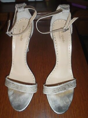 1670610229af KATE SPADE Size 9 B Gold Hedy Pony Hair Ankle Strap Heels Shoes Italy