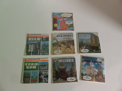 Viewmaster-7 Sets-Cello Attached-Michigan-Lincolnland-Wild Africa Animals-More!!