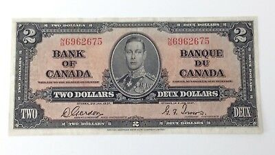 1937 Canada 2 Two Dollar NB Prefix Canadian Circulated Treated Banknote G206