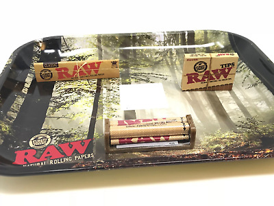 Bundle 1x RAW Classic King Size Slim + 1x PreRolled Tips + Forest Tray + 79MM