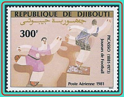 """DJIBOUTI 1981 PAINTING by PICASSO """"FOOTBALL PLAYERS"""" MNH CV$7.00 SPORTS, SOCCER"""