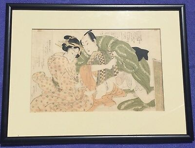 Antique Japanese Shunga woodblock Print - 18th. or 19th. century with provenance