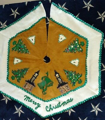 Fantastically ugly Vintage Christmas Tree Skirt 1970's sequinned churches more
