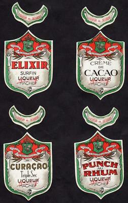 Set Of 8 Vintage Drinks Labels For Elixir Cacao Curacao Rhum Punch  Incl Neckers