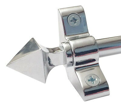 SET OF 13 POLISHED CHROME 3/8 x 36 INCH STAIR CARPET RODS PYRAMID FINIAL(R03LPY)