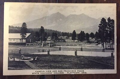 Flagstaff AZ State Teachers College Campus View San Francisco Peaks 30s Postcard