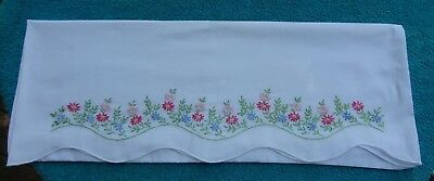 Pair Vintage Hand Made Crocheted Pillow Cases Floral Sweet