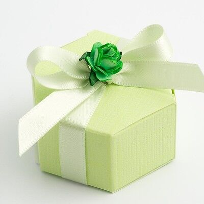 GREEN TEXTURED HEXAGON WEDDING FAVOUR BOXES (Choose Your Quantity Req)