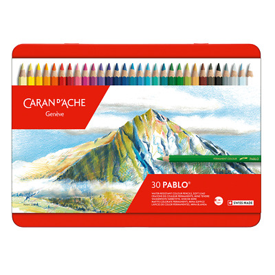 Caran D'Aache Pablo Permanent Colour Pencils Tin of 30 Artist Coloured Pencil