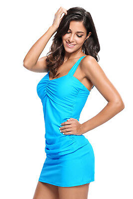 db88d06885 Women Sweetheart Style Solid Tankini Swimsuit with Swim Skirt Two Piece 2 PC  Set