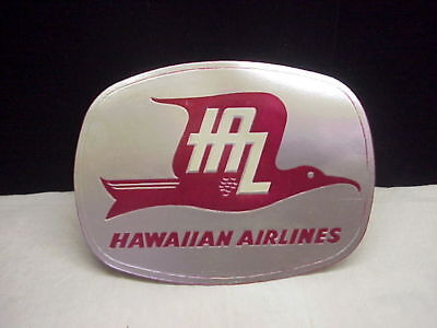 Original Vintage Hawaiian Airlines Silver Foil Label, c 1950's