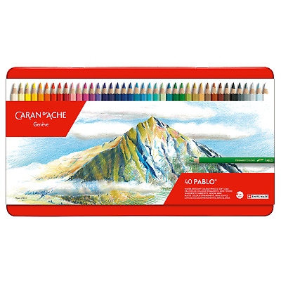 Caran D'Aache Pablo Permanent Colour Pencils Tin of 40 Artist Coloured Pencil