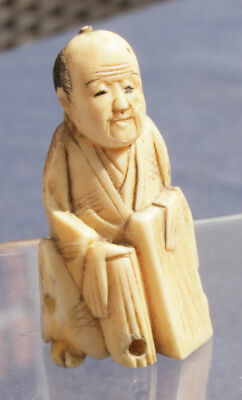 Fine Antique 19th Century Carved Bone Japanese Okimono or Netsuke, Meiji Period