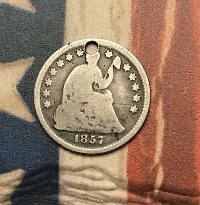 1857 5C Seated Liberty Half Dime 90% Silver Vintage US Coin #CM54