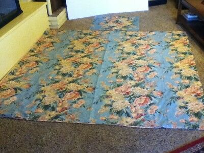 "Vintage Cotton Flowered Bedspread Full With One Pillow Case  83"" X 79"""
