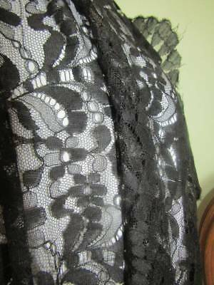 Antique Black Floral Chantilly Lace Shawl  A/F Project