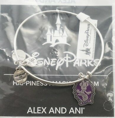 New Disney Alex and Ani Minnie Mouse Halloween Cameo Purple Bracelet Silver