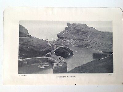 Boscastle Harbour, North Cornwall, 1950 Vintage RP Print, Scotland