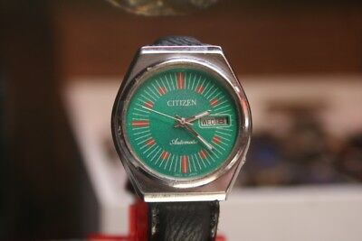 Citizen Automatic GREEN HORNET 70er Vintage HAU mit neuem Band 21 Jew